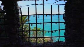 Locks on the beach in Monterosso, Cinque Terre, Italy