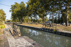 Locks in Beziers, France. One of the locks in Beziers, France, that helps the Canal du Midi to cross over the river Orb. A world heritage site since 1996 Stock Photo