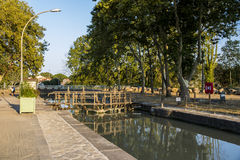 Locks in Beziers, France. One of the locks in Beziers, France, that helps the Canal du Midi to cross over the river Orb. A world heritage site since 1996 Royalty Free Stock Image
