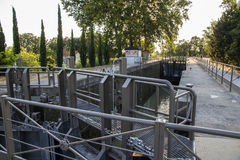 Locks in Beziers, France. One of the locks in Beziers, France, that helps the Canal du Midi to cross over the river Orb. A world heritage site since 1996 Stock Images