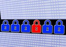 Locks and binary code Stock Photo