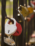 Locks on the bridge. Stock Images
