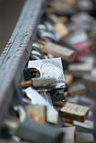 Locks on a bridge Royalty Free Stock Photos