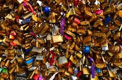 Locks on bridge Stock Photo