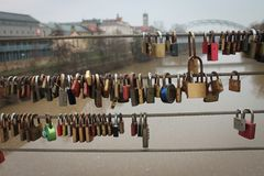 Locks on Bridge in Bamberg. Locks of love on bridge in Bamberg, Germany stock photos