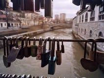 Locks. A bridge full of locks in ljublijana Stock Images