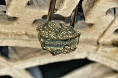 Locks on bridge Royalty Free Stock Photo