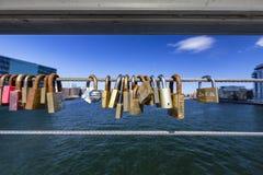 Locks on a Bridge stock photos