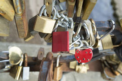 Locks on bridge of lovers Stock Photos