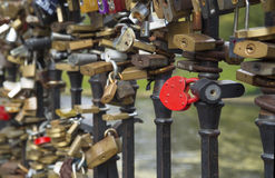 Locks on bridge of lovers Stock Images