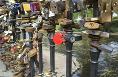 Locks on bridge of lovers Royalty Free Stock Image