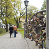 Locks on bridge of lovers Royalty Free Stock Photography