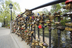 Locks on bridge of lovers Royalty Free Stock Photos