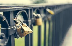 Locks on a bridge Stock Image