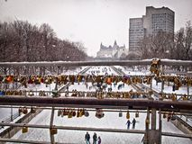 Locks on the bridge over Rideau canal in Ottawa. Royalty Free Stock Photos