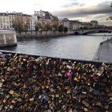 Locks on bridge. Locks on a bridge in Paris Stock Images