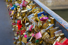 Locks on the bridge. In Paris.  symbol of eternal love and relationship Stock Photos