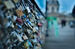 Locks on the bridge in Paris, France royalty free stock images
