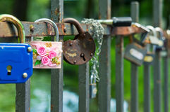 Locks on a bridge protection Royalty Free Stock Image