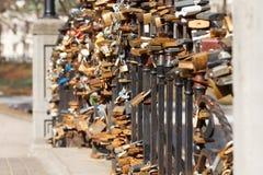 Locks on the bridge railing Royalty Free Stock Image