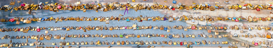 Locks on a bridge railing Stock Images