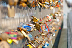 Locks on a bridge railing Royalty Free Stock Images