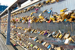 Locks on a bridge railing Stock Photos