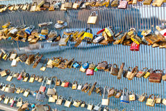 Locks on a bridge railing Stock Photo