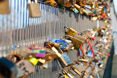 Locks on a bridge railing Royalty Free Stock Image