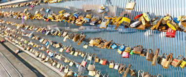 Locks on a bridge railing Royalty Free Stock Photo