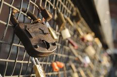 Locks on a bridge railing Stock Image