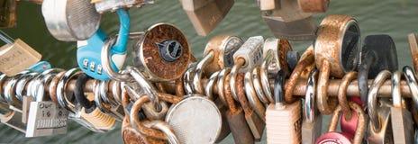 Locks on a bridge railing in Ottawa symbolizing love stock photos
