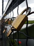 Locks on the bridge. These are some locks on the bridge of Comana, the bridge is called The Bridge Of Wishes and each lock is someone& x27;s wish Royalty Free Stock Photography