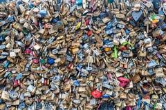 Locks on bridge Stock Image