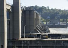 Locks and dam on Ohio River royalty free stock image
