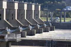 Locks and dam on Ohio River stock photo