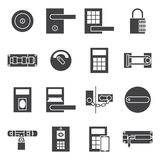 Locks door  icon set. Locks door  icon Black vector set Stock Photos