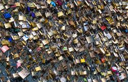 Locks on the fence of the bridge of lovers in Paris. Stock Photography