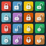 Locks flat vector icons Stock Images