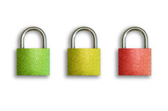 Locks - green, yellow and red Royalty Free Stock Images