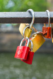 Locks on historical bridge Royalty Free Stock Photo