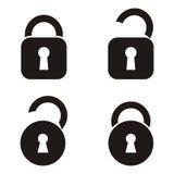 Locks icons. Four black open and closed locks icons stock illustration