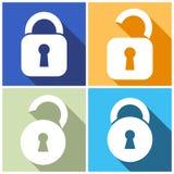 Locks icons. Four open and closed locks flat design royalty free illustration