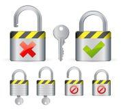 Locks and key. Vector icons royalty free illustration