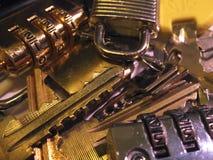 Locks and keys. Pile of several locks and keys Royalty Free Stock Photo