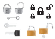 Locks and keys. Opened and closed isolated on the white background vector illustration