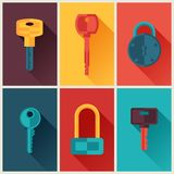 Locks and keys icons set in flat style Stock Photography