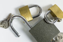 The locks and keys. Padlocks for the security of person and the whole family Stock Images