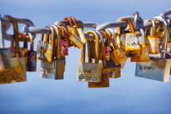 Locks left by lovers Royalty Free Stock Image