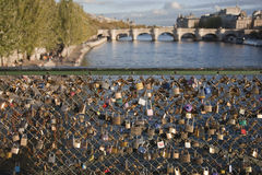 Locks left by lovers on pont des arts in Paris Royalty Free Stock Images